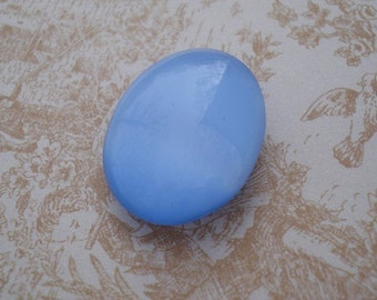 Vintage25x18mm  Light Blue Smooth Top Slightly Faceted Back Oval Glass Moonstone (1 piece)