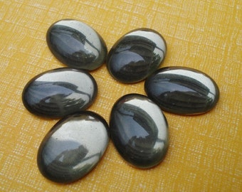 Vintage Black Diamond/Grey Oval Glass Gold Foiled Back Cabochons 18x13mm (3 pieces)