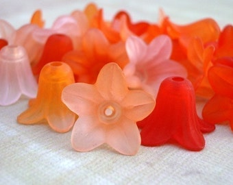 Frosted Lucite 5 Petal Flowers in Shades of Orange (12 pieces)