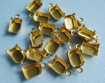 Brass 8x6mm Octagon 1 Ring/Loop Closed Back Settings (12 pieces)