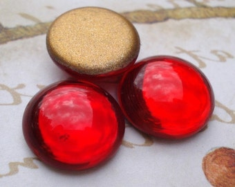 Vintage 10.5mm Ruby Red Gold Foiled Flat Back Round Glass Cabs (6 pieces)