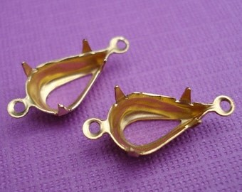 Brass 10x6mm Pear/Teardrop Open Back 2 Ring/Loop Settings for Jewels or Cabs (12 pieces)