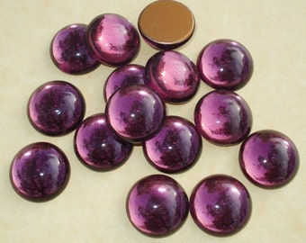 Vintage 15mm Amethyst Gold Foiled Round Flat Back Glass Cabs 15mm (6 pieces)