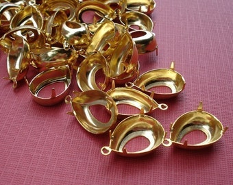 Gold Plated Brass 18x13mm Pear/Teardrop 1 Ring 4 Prong Open Back Settings for Jewels or Cabs (6 pieces)