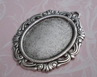 Antique Silver 38x30mm Victorian Style Frame Settings for 25x18mm Flat Back Cabs or Jewels (2 pieces)