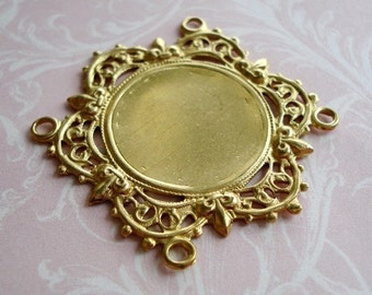 Raw Brass Filigree 35x32mm 4-Loop Connector Settings for a 18mm Flat Back Cab or Jewel (1 piece)