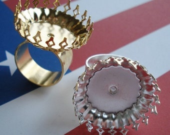 Gold Adjustable Ring 10mm Hammered Gold Band and Round 25mm Crown Edge Setting for your Cabs or Jewels (1 piece)