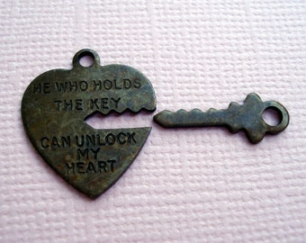 Antique Brass Aged Patina Key to My Heart Charm Sets (3)