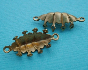 Brass 15x7mm Navette Closed Back Crown Edge 2 Ring 8 Prong Settings for Jewels or Cabs (6 pieces)