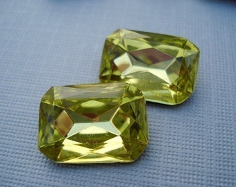 Vintage 18x13mm Jonquil Rectangle/Octagon Gold Foiled Pointed Back Faceted Glass Jewels (2 pieces)
