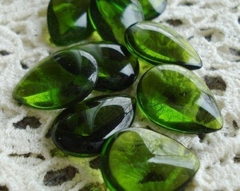 Vintage 18x13mm Pear/Teardrop Olive/Olivine Green Glass Jewels (2 pieces)