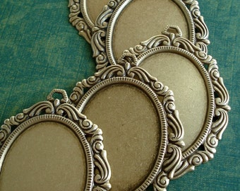 Antique Brass/Bronze 60x47mm Victorian Frame Setting for a 40x30mm Flat Back Cab or Jewel (1 piece)