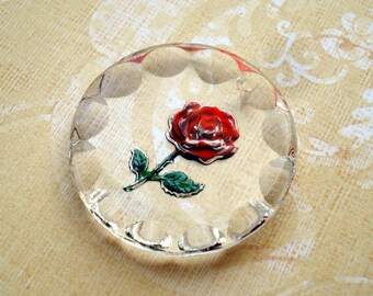 Vintage 25mm Western Germany Round Clear Glass Carved Rose Intaglio Pendant with Top Drilled Hole for Hanging (1 piece)