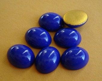 Vintage SWAROVSKI 10x8mm Cobalt/Purplish Dark Blue Oval Gold Foiled Flat Back Glass Cabs (6 pieces)