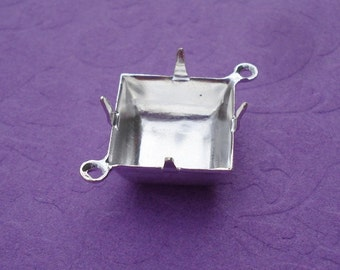Silver Plated 12x12mm Square Closed Back 2 Ring/Loop 4 Prongs Settings (6 pieces)