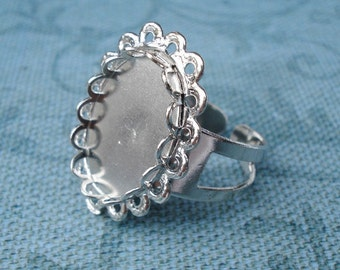 3 Silver Plated Adjustable Ring Bases with Double Scalloped Lace Edge 18x13mm Settings