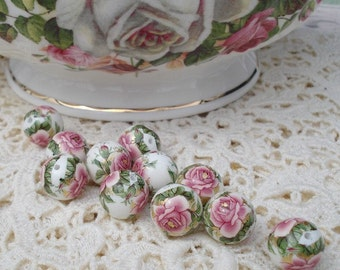 White 12mm Tensha Beads with Dusty Rose Pink Cabbage Roses (2 pieces)