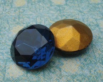 2 Vintage 18mm Montana Blue Round Gold Foiled Pointed Back Glass Jewels or Cabs