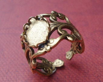 1 Vintage Adjustable Antique Gold Plated Filigree Ring with Oval Setting for a 8x10mm  Flat Back Cab