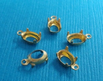 Brass 6x4mm Oval Open Back 1 Ring/Loop 4 Prong Settings for Jewels or Cabs (12 pieces)