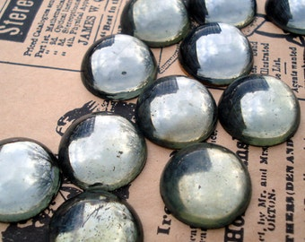 Vintage 18mm Black Diamond Gold Foiled Flat Back Round Glass Cabs (4 pieces)