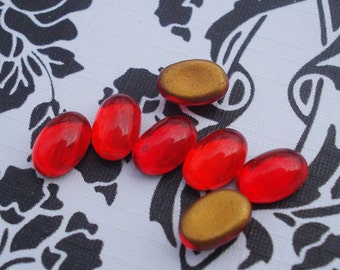 Vintage 4x6mm Ruby Red Gold Foiled Flat Back Oval Glass Cabs (12 pieces)