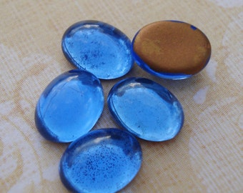 12 Vintage 8x6mm Sapphire Blue Gold Foiled Flat Back Oval Glass Cabs or Stones