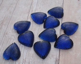 Vintage 18x20mm Sapphire Blue Gold Foiled Flat Back Ribbed Glass Heart Cabs (2 pieces)