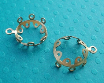 Brass 11mm Scalloped/Crown/Lace Edge Style Prongs 1 Ring Connector Settings for Round Jewels or Cabs (6pieces)