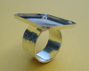Sterling Silver Plated Adjustable Ring 25x22mm Rectangle Setting 2mm walls with 10mm Hammered Band for Cabs or Jewels (1 piece)