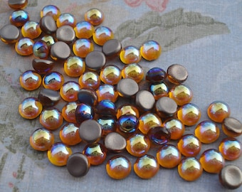 Preciosa 5mm Topaz AB Fire Polished Gold Foiled Flat Back Round Glass Cabs (24 pieces)