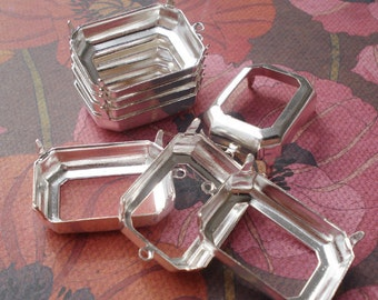 25x18mm Sterling Silver Plated Octagon Open Back 1 Ring/Loop 4 Prongs Settings for Cabs or Jewels (4 pieces)