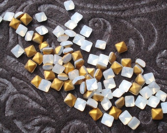 Vintage 4mm White Opal Smooth Top Gold Foiled Pointed Back Square Glass Cabs or Jewels (12 pieces)