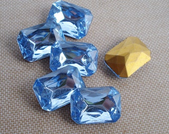 Czech 18x13mm Light Sapphire Blue Gold Foiled Pointed Back Faceted Octagon Glass Jewels (2 pieces)