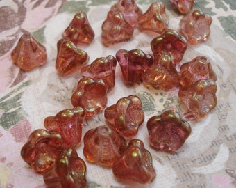 Czech 8x10mm Rose Pink Glass Bell Flower Beads with Copper Luster (25 pieces)
