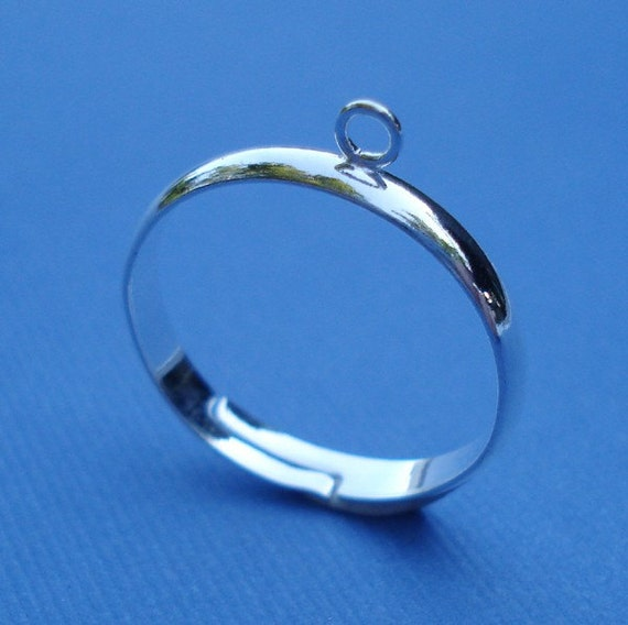 Silver Adjustable 3mm Ring Band with 1 Loop for Dangling Beads or Charms (3)