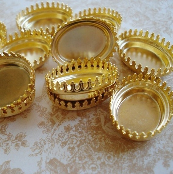 3 pcs 25x18mm Gold Plated Oval Closed Back Crown Edge Prong Settings for Jewels or Cabs