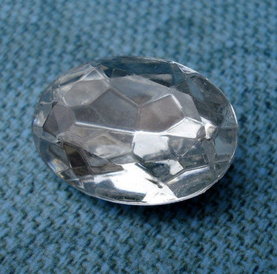 Vintage 18x13mm Crystal Clear Oval Silver foiled Pointed Back Faceted Glass Jewels (2 pieces)