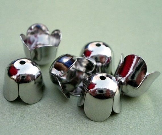 Large 10x10mm Bright Silver Chrome Tulip Bead Caps (6 pieces)