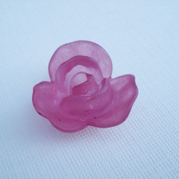Frosted Lucite 3D Grape Purple Carved Rose Flower Bead 23mm (1 piece)