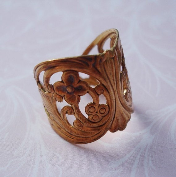 Brass Adjustable Filigree Ring 20mm (1 piece)