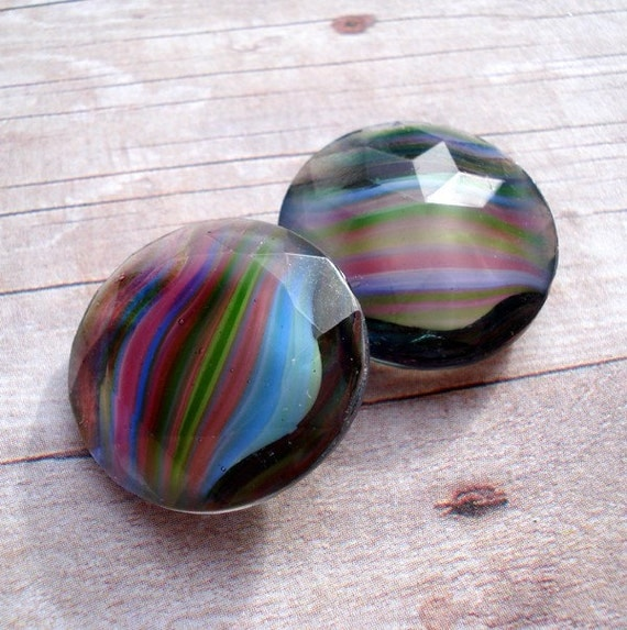 Vintage 20mm Black Diamond Multi Striped Givre Imperfect Round Unfoiled Pointed Back Glass Jewel or Cab (1 piece)