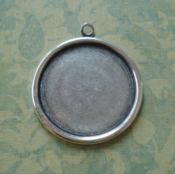 25mm Antique Silver Plain Edge Round Setting for 25mm Flat Back Cabs or Jewels (3 pieces)