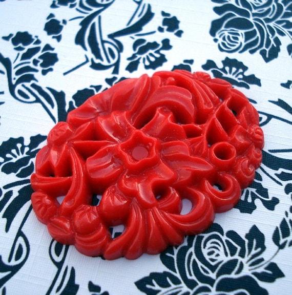 Vintage 40x30mm Dark Coral Plastic Oval Cabochon (1 piece)