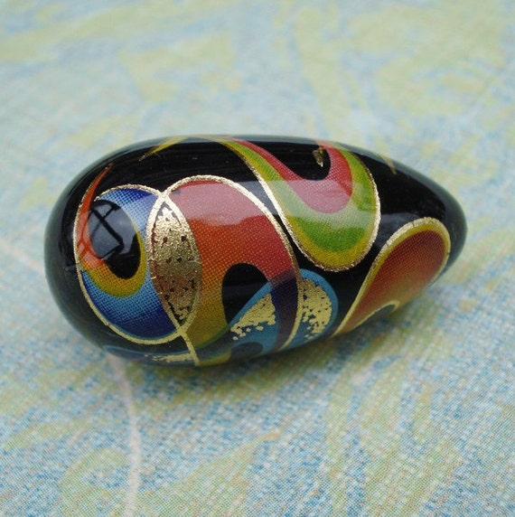Black 30x16mm Wild Bold Flashy Tensha Teardrop Beads with Multi-Colored Swirls (2 pieces)
