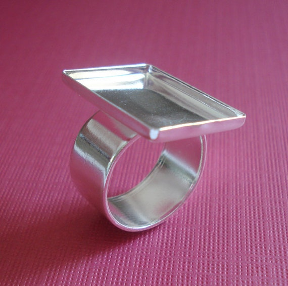 Sterling Silver Plated Adjustable Ring 22x17mm Rectangle Setting 2.2mm walls with 10mm Plain Band for Cabs or Jewels (1)