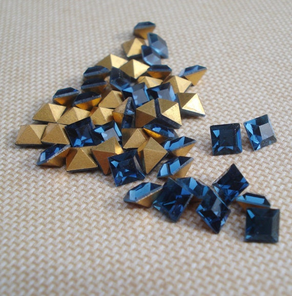 Vintage 4x4mm Montana Blue Square Gold Foiled Pointed Back Glass Jewels or Cabs (12 pieces)