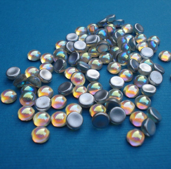 Vintage 5mm Crystal AB Preciosa Fire Polished Silver Foiled Flat Back Round Glass Cabs (12 pieces)