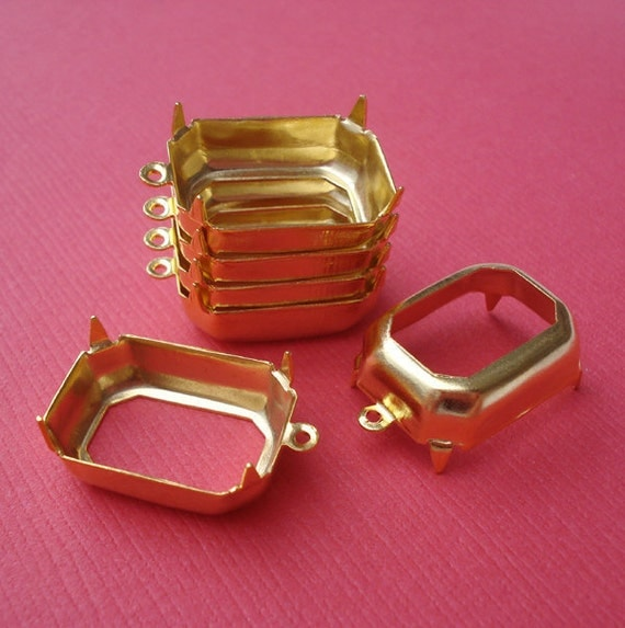 6 pcs 18x13mm 24kt Gold Plated Brass 1 Ring Open Back Octagon Rectangle Settings