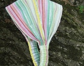 Girls Fabric Headband: Pink, Green, and Silver Stripes
